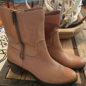 Brown leather boots Land's End